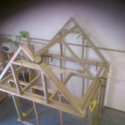 First part of construction of a bespoke playhouse in the workshop