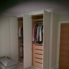 Inside layout in oak with soft close drawers (Blackheath)