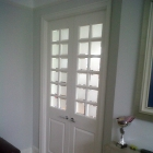 Custom built double doors with sandblasted glass and clear border (Dulwich Village)