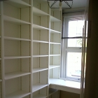 Fully fitted home office with adjustable shelves and finished in white eggshell (Sydenham)