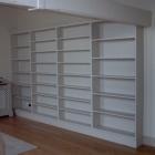 Bespoke bookcase made for a converted church, hand painted to match wall colour (West Dulwich)