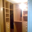 A walk in wardrobe made in ash solids and veneers finished with Danish oil (Westminster)