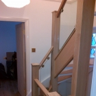 Existing stairs lined with American white oak and glass panels(Greenwich)