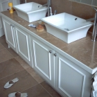 A double vanity unit with moulded panel doors and tiled top (Kensington)