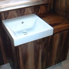 Bespoke walnut vanity unit hand finished in oil (Chelsea)