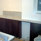 Walnut vanity units with marble top and opening for towel rail (West Kensington)