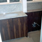 Walnut vanity unit and hide-away with marble top and splash backs (West Kensington)