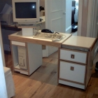Bespoke, pull out desk designed to make use of under stairs space (Warwick Avenue)