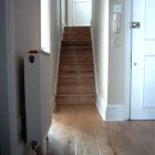 European solid oak floor and stairs with soundproof sub floor as fitted in second floor apartment (Warwick Avenue)